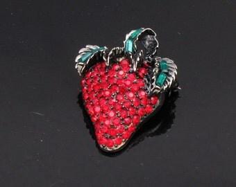 1980 Vintage PELL Red Green Rhinestone Strawberry Brooch