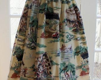 1950' s  Styled Gathered Skirt .   Hawaiian Scenic print