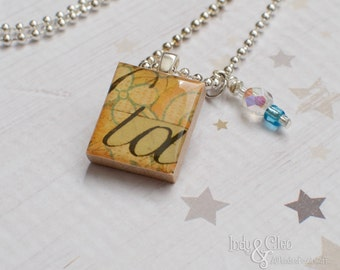 Abstract Flower Script Scrabble Necklace, Handmade Scrabble Tile Pendant, Wood Pendant Charm, Wire Wrapped Bead Dangle, Bead Charm, Upcycled