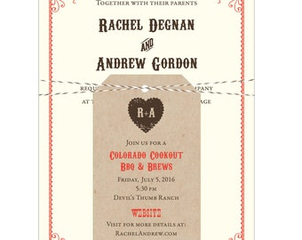 Western Mountain Barn Wedding Invitation - Collection options available