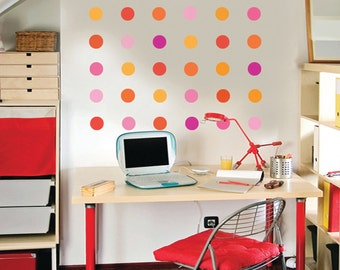 36 Pink and Orange Confetti Dot Wall Decals, Removable and Reusable