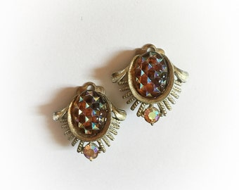 Vintage Coro Amber Iridescent Rhinestone Earrings Clip On