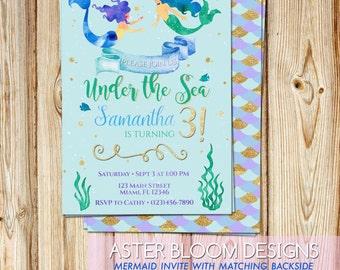 Under the Sea - Little Mermaid Printable Invitation - Birthday Digital Invite / DIY