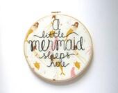 Nursery Decor, Mermaid Nursery Wall Art, Mermaid Nursery, Mermaid Decor, a Mermaid Sleeps Here, Nautical Embroidery, Mermaid Embroidery