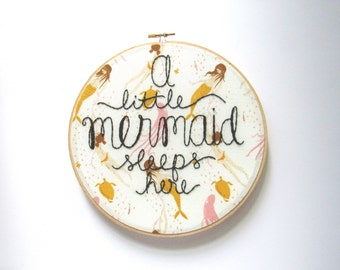 Mermaid Nursery Theme, A Little Mermaid, baby girl nursery, mermaid baby, embroidery nursery decor, mermaid embroidery, one of a kind kimart