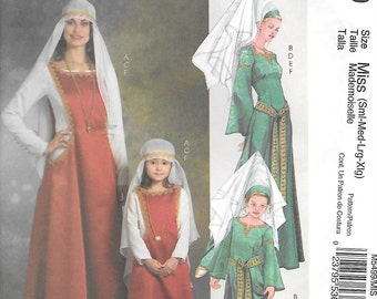 McCalls 5499 UNCUT Misses Medieval Gothic Gowns Sewing Pattern Sizes S - XL Surcote Wimple Princess Hat Costumes