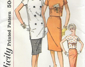 """Simplicity 2812 UNCUT 1950s Tunic Crop Top and Fitted Skirt Vintage Sewing Pattern Bust 32 Wiggle Skirt """"Simple to Make"""" Pencil Skirt"""