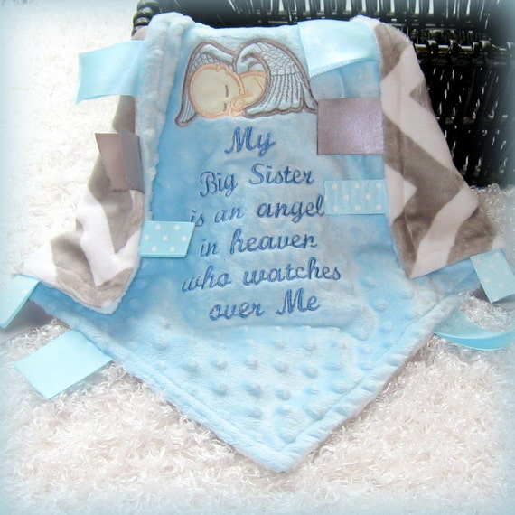 My Sister Brother Angel In Heaven Lovey Custom Made Minky
