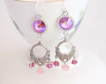 Swarovski chandelier earrings, pink rivoli crystal chandelier earrings, pink chandelier 925 silver earrings