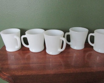 Milk Glass Mugs plus a Cup Tree 6 Fire King Anchor Hocking Cups