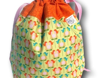 Chirp - Small Birds One Skein Knitting Crochet or Needlework Project Bag