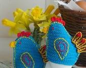 Crochet Chick Egg Cozy, Easter Hen Egg Cozy, Blue Bird Egg Cozy, Chick Egg Warmers (set of two)