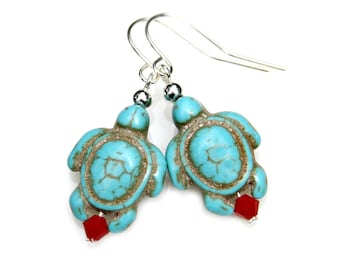 Turtle Earrings Turquoise Carved Tortoise Jewelry Beach Ocean Critter Flare Blue Gemstone Conservation Wildlife by Mei Faith