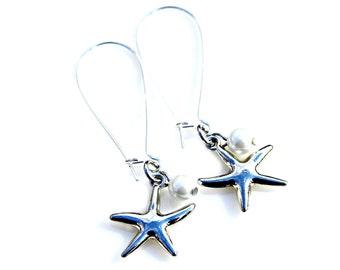 Silver Starfish Earrings Pearl Dangles Beach Ocean Jewelry Bridesmaid Gift Island Bride Wedding White Pearl Nautical High Fashion Mei Faith