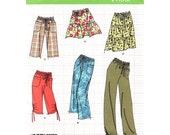 Womens Sewing Pattern Simplicity 2414 Drawstring Waist Long Shorts, Cropped Pants, Tiered Skirt In Two Lengths Size 16 to 24 UNCUT