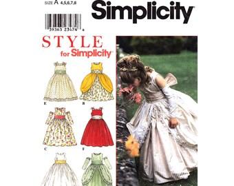 Girls Princess Dress Pattern Simplicity 8953 Full Skirt Party Dress Gauntlets Overskirt Formal Flower Girl Dress Size 4 5 6 7 8 UNCUT