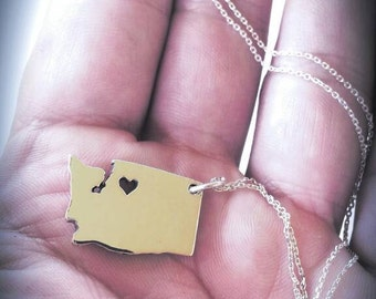 Washington Charm Necklace, heart seattle charm necklace