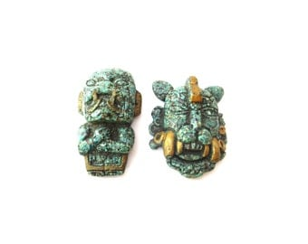 Set of 2 Marbled Turquoise, Green, & Gold Colored Unique Aboriginal Scary / Fierce Decorative Figurines or Craft Supplies