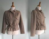 Vintage 1980s Jacket - Chic Brown Tweed Safari Inspired Jacket - 80s Tannery West Jacket S M