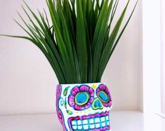 Ceramic Sugar Skull Planter Pink Blue Yellow Day of the Dead Hand Painted Dia de los muertos Folk Art - On Sale - READY TO SHIP