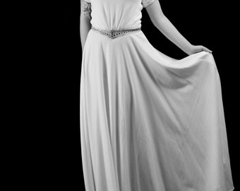 1940 - Beaded Crepe Ivory Wedding Dress  - Made to Order - FREE SHIPPING WORLDWIDE