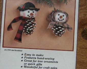 1995 sewing pattern Pinecone Snowman and Lady christmas winter seasonal decoration ornament uncut