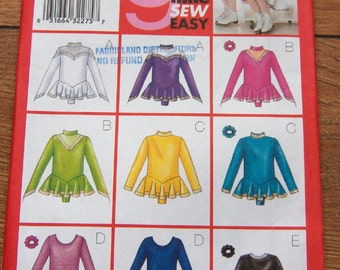 2000 Butterick sewing pattern 6787 GIRLS Bodysuit, Skirt and Ponytail Holder SKATING COSTUME   sz 4-5-6  uncut