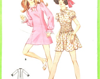 1960s Mod Mini Dress Pattern Simplicity 5736 Vintage Sewing Pattern Keyhole Neckline Puff Sleeves Easy Pattern Bust 30.5 inches