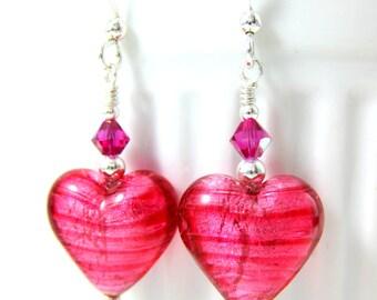Heart Earrings, Pink Murano Glass Earrings, Valentine's Day Earrings, Valentine's Jewelry, Romantic Earrings, Valentine's Day Gift Under 25