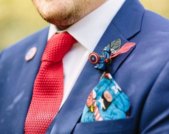Wedding lego DC captain america buttonhole comic superhero boutonniere black fabric flower brooch