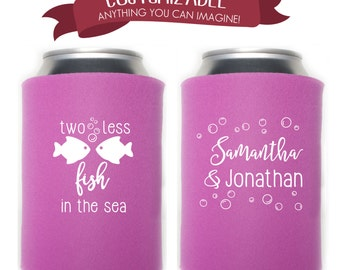 Two Less Fish in the Sea Cooler Favors Wedding Party Gifts Wedding Anniversary Party Gifts Custom Beverage Can Cooler 2D176C