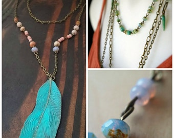 Bohemian Multi Strand Necklace Feather Pendant Statement Glass Beads - The Turquoise Pheasant.