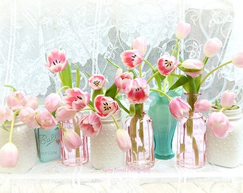 Spring Flower Photography, Aqua Pink Tulips Floral Print, Summer Garden Flowers, Romantic Floral Prints, Shabby Chic Decor, Spring Tulips