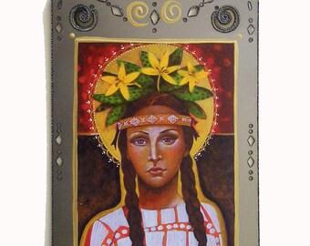 SAINT KATERI TEKAKWITHA, Lily of the Mohawks, Roman Catholic Saint & Icon, From my Original Icon, Collage on Steel, Christina Miller