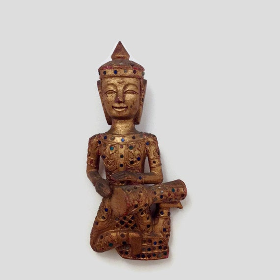 Vintage Buddha Statue Wall Art Hanging - Carved Wood - Sequins