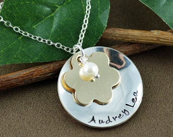 Hand Stamped Necklace, Personalized Name Jewelry, Keepsake Jewelry, Flower Necklace, 14kt gold filled and Sterling Silver, Gift for Mom