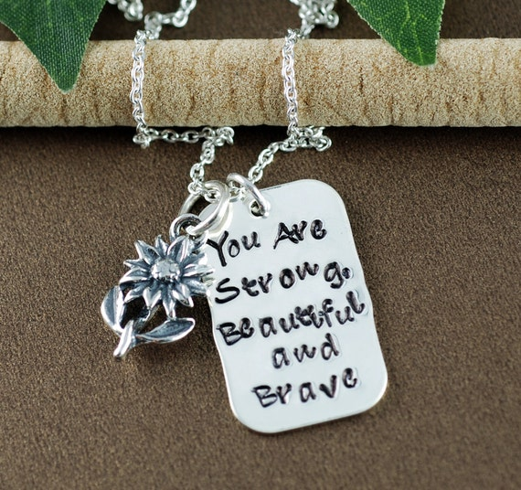 Strong Beautiful Brave Hand Stamped Necklace, Gift for Best Friend, Friendship Necklace, Inspirational Gift, Motivational Graduation Gift
