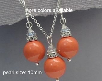 Coral Necklace and Earring Set, Coral Bridesmaid Jewelry Set, Wedding Jewelry, Beach Wedding Necklace, Orange Bridesmaid Jewelry Set