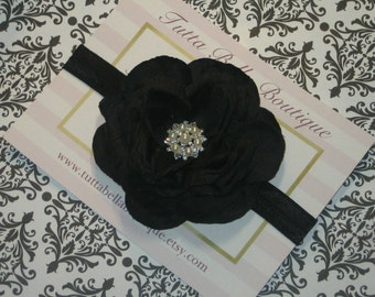 Black Flower Headband Black Rhinestone Pearl Headband Black Headband Baby Headband Toddler Headband Newborn Headband Flowergirl Headband
