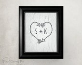 Personalized Initials on Tribal Arrow Heart artwork // Indian arrows vintage wall art print // Chalkboard option // READY TO SHIP