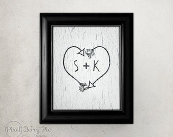Personalized Initials on Tribal Arrow Heart artwork // Indian arrows vintage wall art print // READY TO SHIP