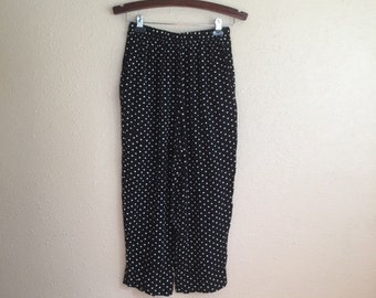 Vintage 80s Black and White POLKA Dot Wrinkle Pants With Pockets / Womens Small Medium