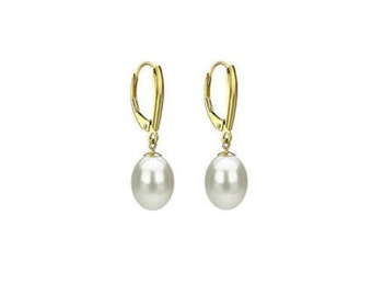 Freshwater Pearl Drop Earrings  , 10MM White Drop Pearl Earrings  ,   Gift For her Jewelry