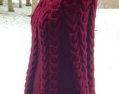 Gorgeous Hand Knit Cabled Turtleneck Poncho, Ladies Maroon Knit Poncho, Ladies Beautiful Burgandy Poncho, Warm Handknit Poncho
