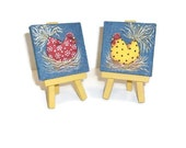 Two Funky Chicken Mini Denim Canvas Paintings With Easels