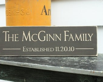Small Personalized Family Name Established Wedding Home Decor Wooden Classic Sign - 6x20 Carved Engraved Handpainted Rustic Wooden Sign