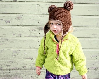 Cute Animal Bobble Hat - Little Bear Bobble Hat - Brown Bear Earflap Hat- Child to Adult Sizes