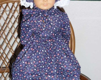 1850s 1800s 2 pc Prairie Pioneer Dress and Sunbonnet for  American Girl Kirsten or other 18 inch doll
