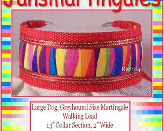 Janmartingales, Red Walking Lead, Dog Collar and Lead Combination, Greyhound, Large Dog Size, Red164