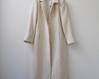 vintage 90s minimalist winter white wool extra long duster coat large